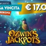 Vinti oltre 17.000 € alla slot Ozwin's Jackpots