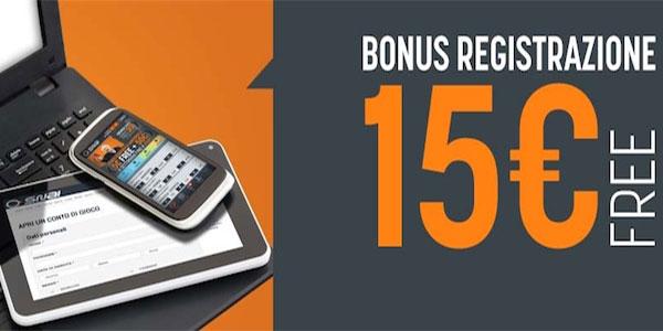 Bonus Snai casino: 15€ alla registrazione + 1000€ sul deposito